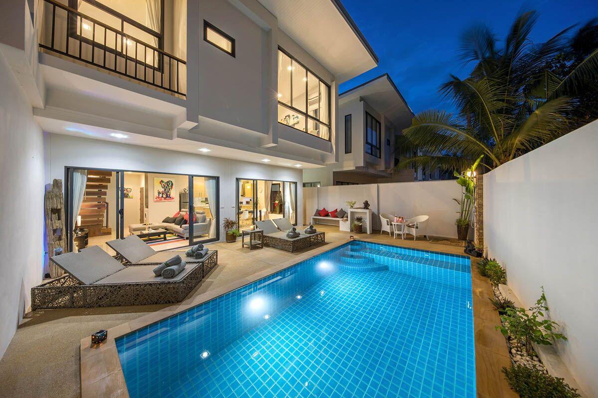 New modern pool villas plai laem koh samui property for Koh tao cabana koi pool villa