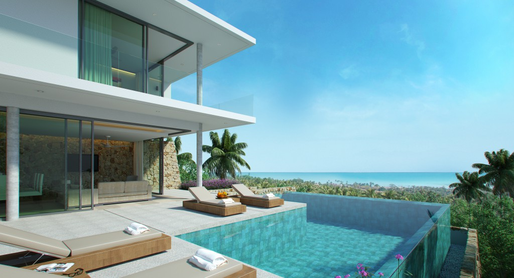 Bophut sea view modern style samui property research for Koh tao cabana koi pool villa